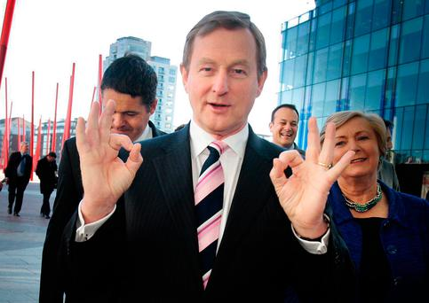 Enda Kenny pictured with Paschal Donohoe, Leo Varadkar and Frances Fitzgerald. Potential candidates to replace Mr Kenny have seven days to come up with eight TDs, senators or MEPs who will sign their nomination papers Picture: Tom Burke