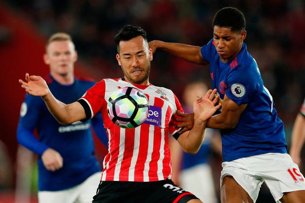 Southampton's Maya Yoshida in action with Manchester United's Marcus Rashford. Photo: John Sibley/Action Images via Reuters