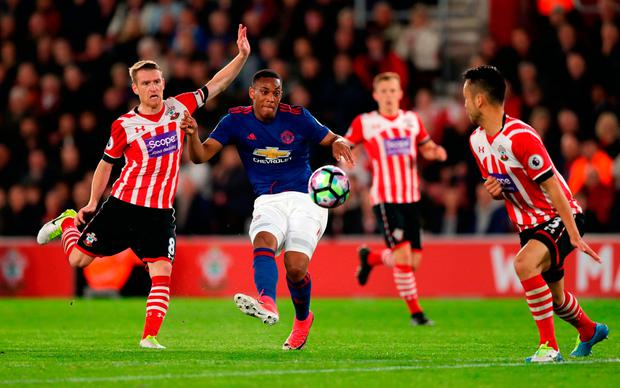 Manchester United's Anthony Martial has a shot on goal. Photo: Andrew Matthews/PA Wire