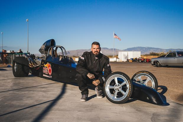 TUCSON, ARIZ. - Shane Foley in front of the Drag Car. (photo credit: National Geographic/Hassan Ghazi)