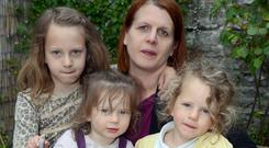 Kate Devlin from Derry with her children, Edie (7), Maile (2) and Poppy (4).Picture Martin McKeown.