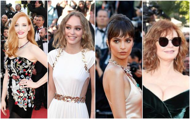L-R: Jessica Chastain, Lily Rose Depp, Emily Ratajkowski and Susan Sarandon at Cannes.