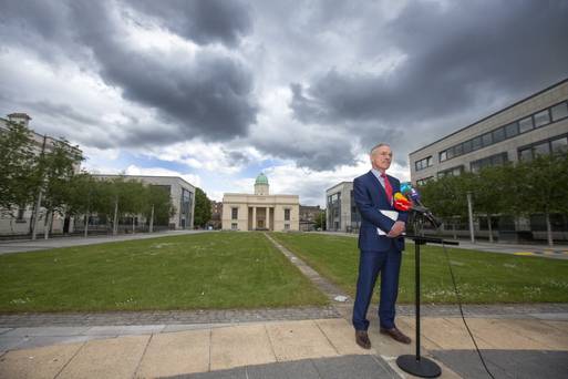 Minister Richard Bruton at a press briefing to say he wouldn't contest Fine Gael leadership Photo: Mark Condren