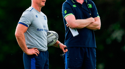 Leinster senior coach Stuart Lancaster, left, and Leinster head coach Leo Cullen