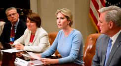 Ivanka Trump speaks at a Human Trafficking event in the Roosevelt Room of the White House in Washington, DC. Photo: Olivier DoulieryOLIVIER DOULIERY/AFP/Getty Images