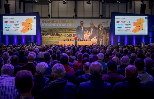 Siobhan Talbot, Glanbia Group Managing Director pictured speaking at the Glanbia Co-Op Special General Meeting at Punchestown Event Centre in Co. Kildare. Picture Dylan Vaughan.