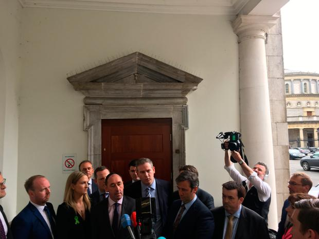 TDs declaring their support for Leo Varadkar at Leinster House. Picture: Niall O'Connor