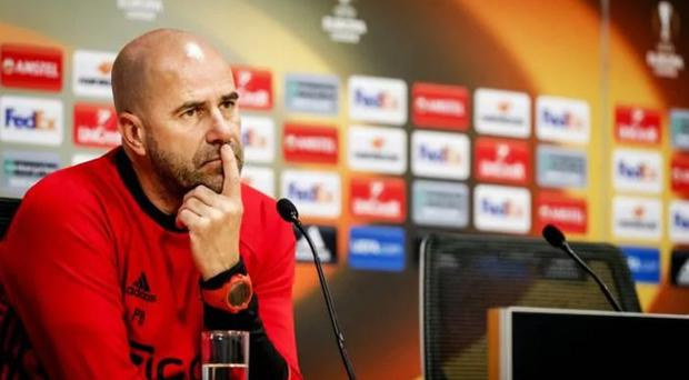 Peter Bosz fields questions ahead of the Europa League final. CREDIT: AFP