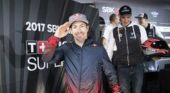 PHILLIP ISLAND, AUSTRALIA - FEBRUARY 24: Nicky Hayden of USA and Red Bull Honda World Superbike team greets during the Autograph Session in paddock show during practice ahead of round one of the FIM World Superbike Championship at Phillip Island Grand Prix Circuit on February 24, 2017 in Phillip Island, Australia. (Photo by Mirco Lazzari gp/Getty Images)