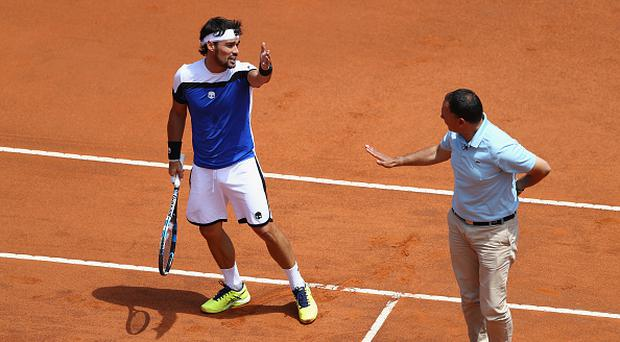 ROME, ITALY - MAY 18: Fabio Fognini of Italy disputes a point with the umpire during the men's third round match against Alexander Zverev of Germany on Day Five of the Internazionali BNL d'Italia 2017 at the Foro Italico on May 18, 2017 in Rome, Italy. (Photo by Michael Steele/Getty Images)