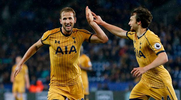 Tottenham's Harry Kane celebrates scoring their fifth goal to complete his hat trick