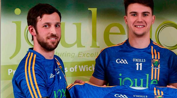 Wicklow players, Stephen Kelly (left) and Ross O'Brien at the Wicklow GAA new jersey sponsor announcement at the Powerscourt Hotel Resort & Spa in Enniskerry, Co Wicklow. Photo: Matt Browne/Sportsfile