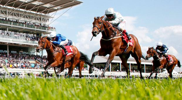 Franny Norton and Permian on their way to victory in The Betfred Dante Stakes at York yesterday. Photo: Alan Crowhurst/Getty Images