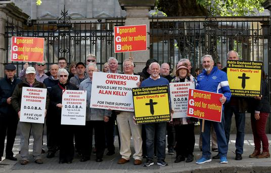 Greyhound owners and trainers protesting at the Dáil over the closure of Harold's Cross stadium. Photo: Tom Burke