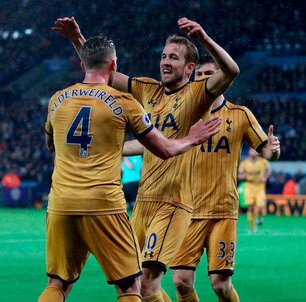 Tottenham Hotspur's Harry Kane celebrates scoring his side's third goal of the game with teammates Toby Alderweireld (left) and Ben Davies. Photo: Nick Potts/PA Wire