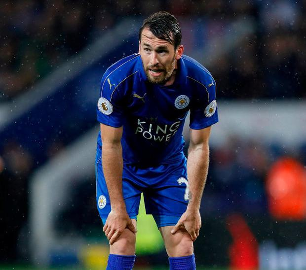 Leicester City's Christian Fuchs looks dejected after Tottenham score their fourth goal. Photo: Darren Staples/Reuters
