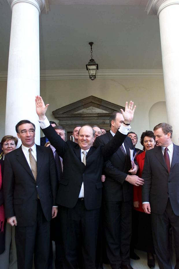 Michael Noonan celebrating at Leinster House in 2001 after being elected the new leader of Fine Gael Picture: PA