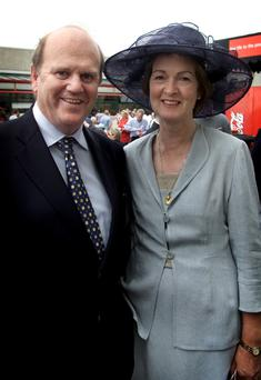 Michael Noonan with his wife Florence at the Galway Races in 2011