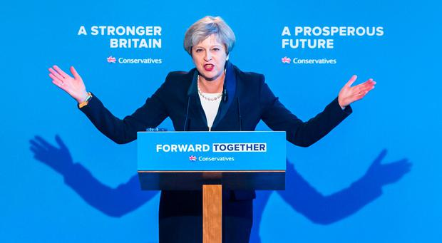 Conservative party leader Theresa May during her party's general election manifesto launch in Halifax, West Yorkshire. Photo: PA
