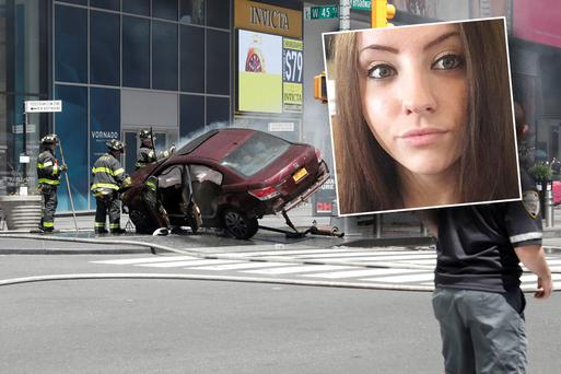 The scene in Times Square Inset: Alyssa Elsman who died in the attack