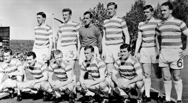 25th May 1967: The Celtic team line up before their European Cup Final match against Inter Milan in Lisbon. They went on to win 2-1. (Photo by Central Press/Getty Images)