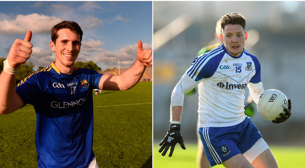 Liam Connerton of Longford (left) and Conor McManus of Monaghan (right).