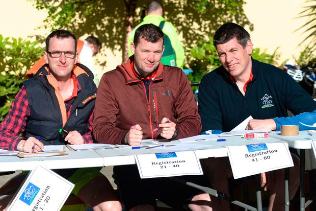 Ian Moriarty, Feral Flynn and Gary Moran pictured at the Cycle for Brother Kevin at the Capuchin centre in Dublin before heading off to cycle to Belmullet in Mayo. Pic: Justin Farrelly.