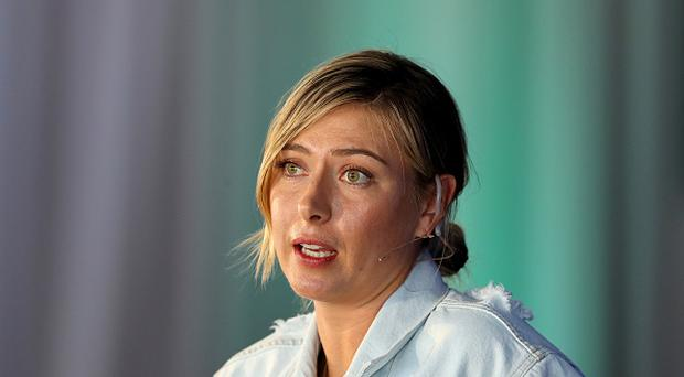 RANCHO MIRAGE, CA - MARCH 28: Maria Sharapova of Russia making a key note speech during the ANA Inspiring Women in Sports Conference as a preview for the 2017 ANA Inspiration at the Mission Hills Country Club on March 28, 2017 in Rancho Mirage, California. (Photo by David Cannon/Getty Images)