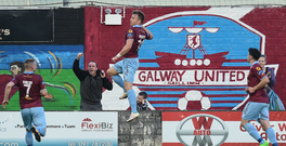 Vinny Faherty of Galway United celebrates after scoring. Photo by David Maher/Sportsfile