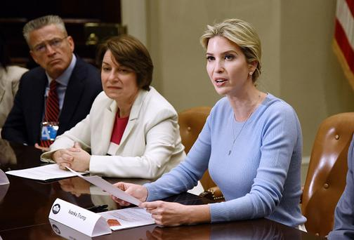 Ivanka Trump speaks at a Human Trafficking event in the Roosevelt Room of the White House on May 17, 2017 in Washington, DC. / AFP PHOTO / Olivier Douliery (Photo credit should read OLIVIER DOULIERY/AFP/Getty Images)