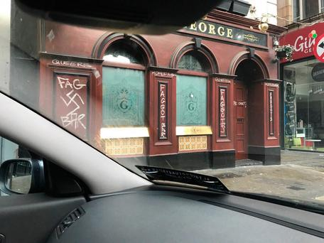The George bar was vandalised with homophobic messages this morning. Photo: Gary Shaw/Twitter