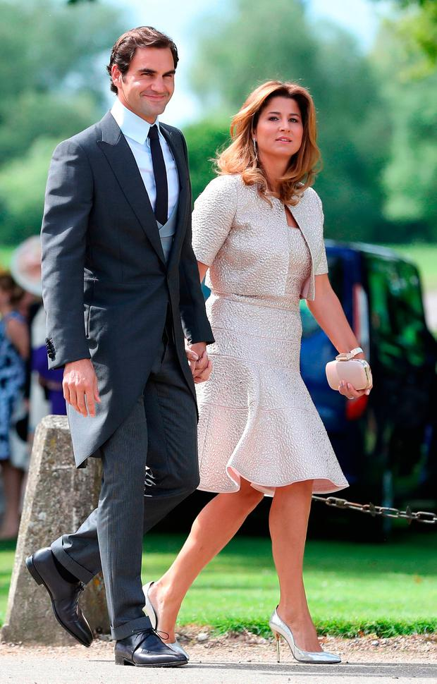 Roger Federer and his wife Mirka arrive ahead of the wedding of the Duchess of Cambridge's sister Pippa Middleton to her millionaire groom James Matthews, dubbed the society wedding of the year at, St Mark's church in Englefield, Berkshire. PRESS ASSOCIATION Photo. Picture date: Saturday May 20, 2017. See PA story ROYAL Pippa. Photo credit should read: Andrew Matthews/PA Wire