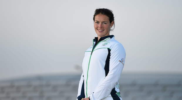 10 June 2015; Jenny Egan, who will represent Ireland in the Women's Kayak Single (K1) 200m, Kayak Single (K1) 500m and Kayak Single (K1) 5000m event, in front of the Olympic Stadium ahead of the 2015 European Games in Baku, Azerbaijan. Picture credit: Stephen McCarthy / SPORTSFILE