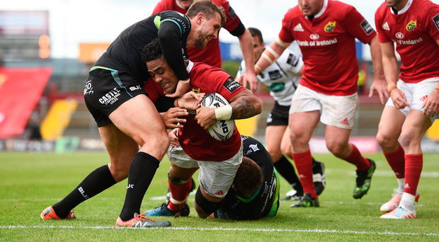 20 May 2017; Francis Saili of Munster goes over to score his side's first try despite the tackle of Ashley Beck of Ospreys during the Guinness PRO12 semi-final match between Munster and Ospreys at Thomond Park in Limerick. Photo by Brendan Moran/Sportsfile