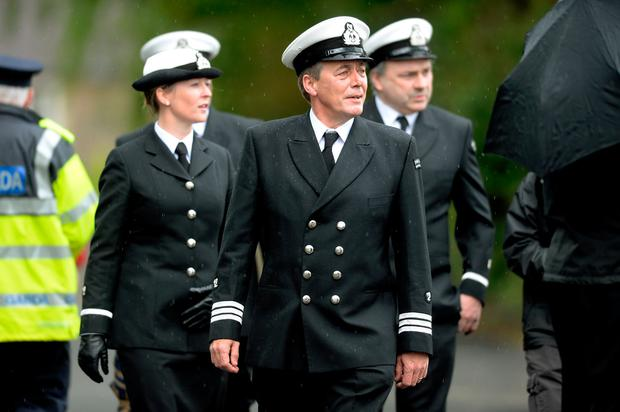 20 May 2017; Members of Irish Coast Guard make their way to the church. Memorial Mass for Rescue 116's Ciaran Smith. Oldtown Church, Oldtown, Co. Dublin. Picture: Caroline Quinn