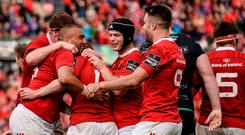 20 May 2017; Simon Zebo of Munster celebrates with team-mates after scoring his side's second try during the Guinness PRO12 semi-final between Munster and Ospreys at Thomond Park in Limerick. Photo by Diarmuid Greene/Sportsfile