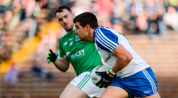 20 May 2017; Drew Wylie of Monaghan in action against Sean Quigley of Fermanagh during the Ulster GAA Football Senior Championship Preliminary Round match between Monaghan and Fermanagh at St Tiernach's Park in Clones, Co. Monaghan. Photo by Oliver McVeigh/Sportsfile