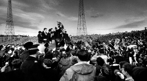The tumultuous reception the team received from the fans on their return to Celtic Park. Photo: Getty Images