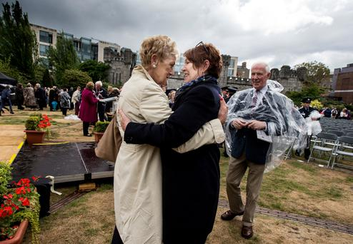 BIG HUG: Anne McCabe, widow of Garda Jerry McCabe, greets Garda Commissioner Noirin O'Sullivan. Photo: David Conachy