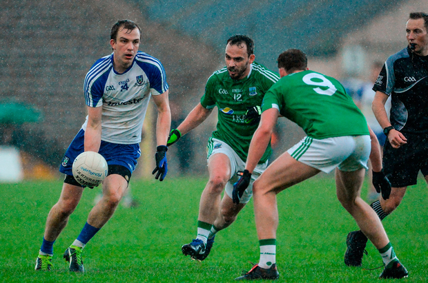 Monaghan's Jack McCarron in action against Paul McCusker and Lee Cullen of Fermanagh. Photo: Sportsfile