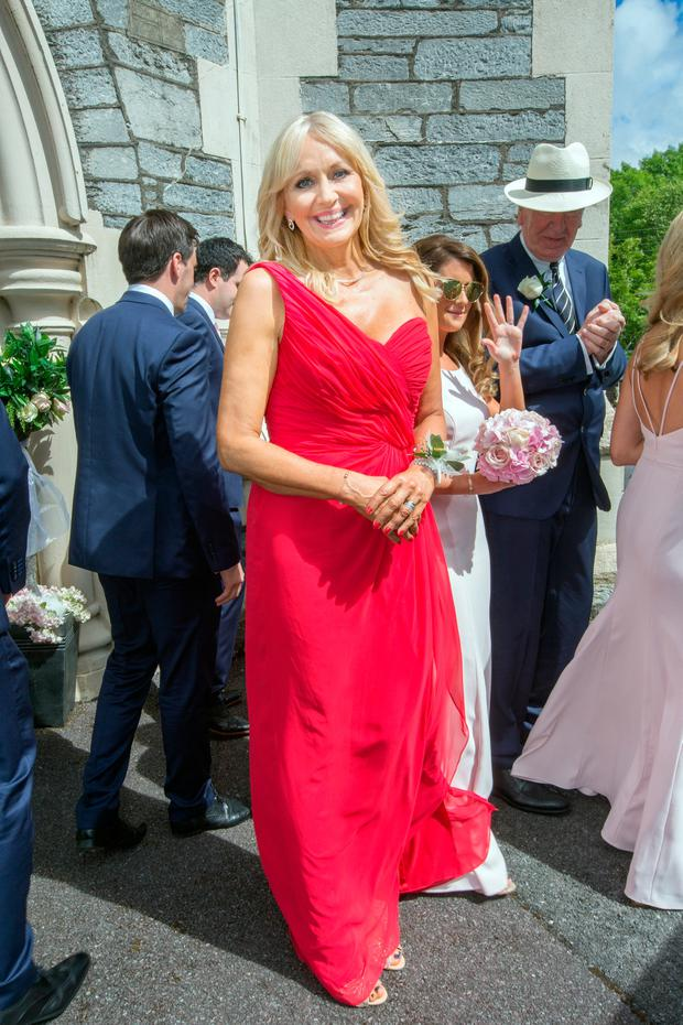 Mother of the bride Miriam O'Callaghan at The Church of The Holy Cross, Kenmare for the wedding of her daughter Alannah McGurk. Photo: Tony Gavin 20/5/2017