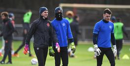 MANCHESTER, ENGLAND - NOVEMBER 23: (L-R) Goalkeeper Sam Johnstone, David De Gea and Kieran O'Hara look on during a Manchester United training session on the eve of their UEFA Europa League match against Feyenoord at Aon Training Complex on November 23, 2016 in Manchester, England. (Photo by Gareth Copley/Getty Images)