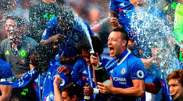 John Terry of Chelsea celebrates after the Premier League match between Chelsea and Sunderland at Stamford Bridge today