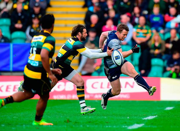 Ben Foden of Northampton Saints tackles Matt Healy of Connacht. Photo by Tony Marshall/Getty Images
