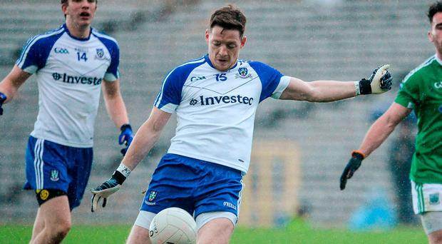 Monaghan's Conor McManus scoring a second-half point. Photo: Oliver McVeigh/Sportsfile