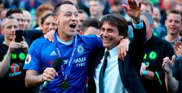 John Terry shares a moment with Antonio Conte as he says his farewell to Stamford Bridge. Photo credit: Nick Potts/PA Wire