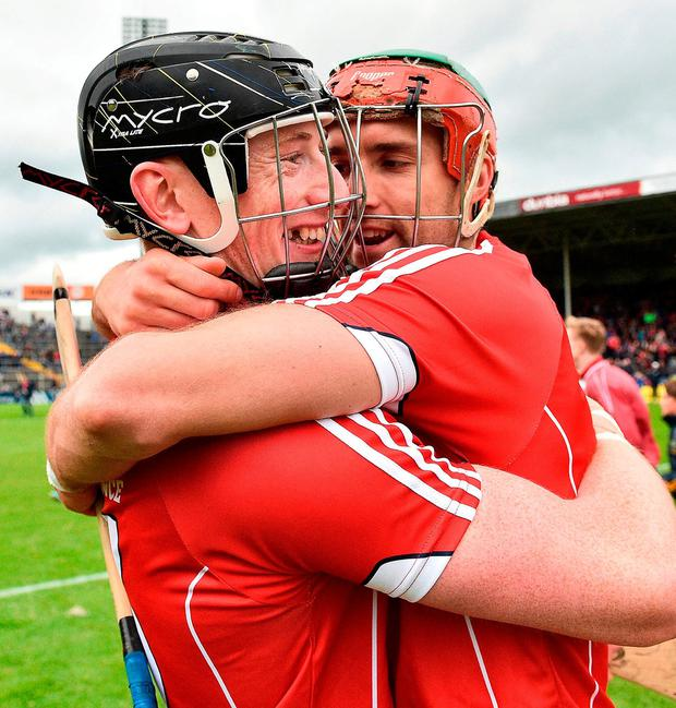 Cahalane celebrates with Stephen McDonnell. Photo: Brendan Moran/Sportsfile