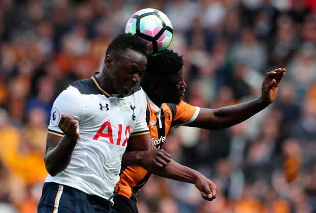 Tottenham's Victor Wanyama in action with Hull City's Alfred N'Diaye. Photo: Reuters / Scott Heppell