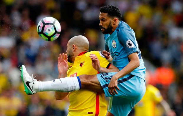 Manchester City's Gael Clichy in action with Watford's Nordin Amrabat. Photo: Reuters / Stefan Wermuth
