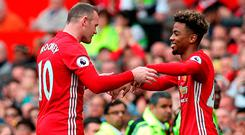 Wayne Rooney is replaced by Angel Gomes at Old Trafford yesterday. Photo credit: Martin Rickett/PA Wire